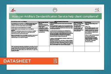 How can Aridhia's De-identification Service help client compliance?